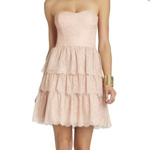 BCBGMaxAzria Lilah Tiered-Lace Strapless Dress